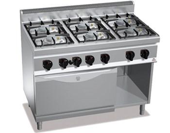 Bếp âu 6 họng, 1 lò nướng bằng gas BERTO'S G7F6+FG1